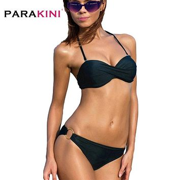 PARAKINI 2018 Summer Sexy Push Up Bikinis Set Women Swimwear Occidental Secret Bathing Suit Swimsuit Steel Ring Biquini Tankini