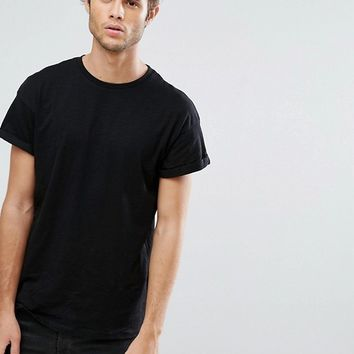 New Look T-Shirt With Rolled Sleeves In Black at asos.com