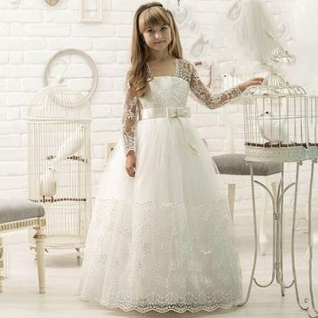 Long Sleeves Flower Girl Dresses first communion dresses for girls Lovely flower girl dress kids evening gowns ball gowns girls
