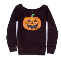Pumpkin Patch Sequin Patch Sweatshirt - Jumper