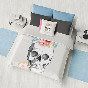 Skull Duvet Cover or Comforter, Floral Skull Bedding, Bedroom, flowers, beige,  feminine skull spring, summer  beautiful, bedroom decor