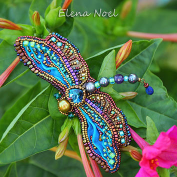 Summer dragonfly embroidered beaded brooch. Bead Embroidery Art