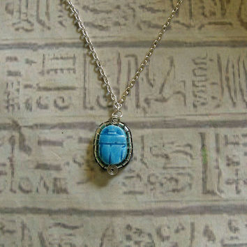 Egyptian Scarab faeince Necklace