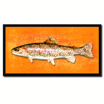 Rainbow Trout Fish Orange Canvas Print Picture Frame Gifts Home Decor Nautical Wall Art