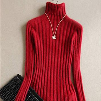 Spring and Autumn New Women's Clothes mink Cashmere Sweaters Turtleneck Thick Warm Knitted Pullover 11 Colors