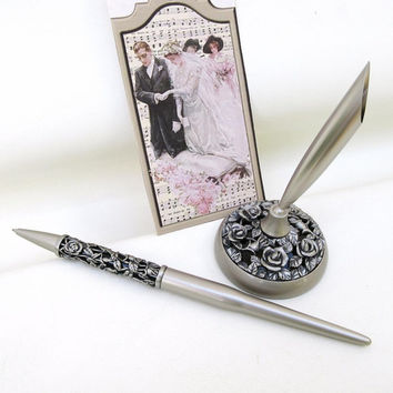 Wedding Pen Set / Silver Rose Pen and Pen Holder / Metal Pen with Pen Stand