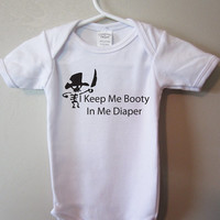 Pirate baby, Funny baby bodysuit, I keep me booty in me diaper, Cute baby clothing for boy or girl, by BlueFoxApparel *