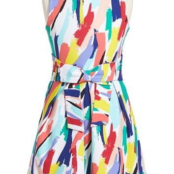 Girl's kate spade new york kids 'jillian' brushstroke print sleeveless dress,