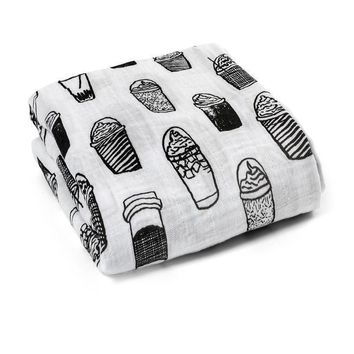 Organic Cotton Muslin Swaddle, Coffee