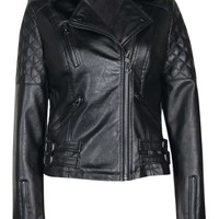 Larah Quilted Black Faux Leather Biker Jacket