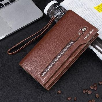 Men Universal 5.5'' Mobile Phone Purse Pu Leather Wallet Card Holder For iPhone Samsung Xiaomi Sony