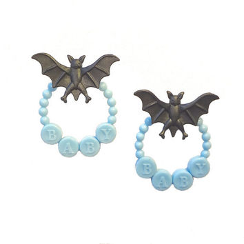 Baby Bat Earrings // black & blue