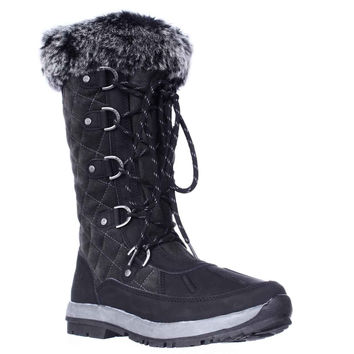 Bearpaw Gwyneth Never Wet Quilted Winter Boots - Black/Grey