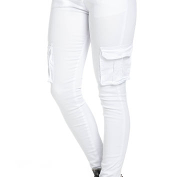 Mid Rise Skinny White Cargo Pants