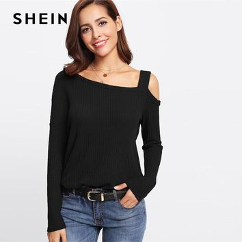 SHEIN Black Casual Solid Slit Side Asymmetrical Neck Cold Shoulder Long Sleeve Tee Autumn Workwear Elegant Women Tshirt Top