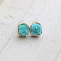 Turquoise Cushion Cut Druzy Studs