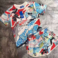 "Women Fashion ""Adidas"" Print Short sleeve Top Shorts Pants Sweatpants Set Two-Piece Sportswear H-WDBHNBZKD-AD"