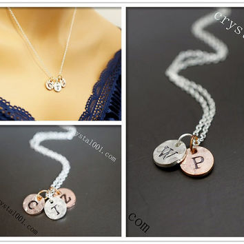Sterling silver 10mm Initial necklace, personalized monogram disc tag necklace h