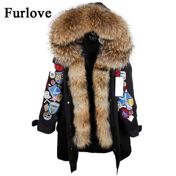 Winter Jacket Womens Jackets 2 in 1 Detachable Liner Coats Big Raccoon Fur Collar Hooded Parka Embroidery Casual Thick Warm Coat