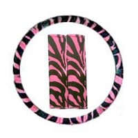 Pink Zebra Tiger Print Steering Wheel Cover and Seat Belt Pads