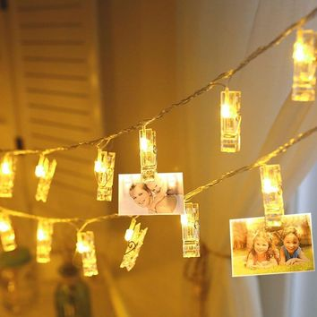 Personalized Decoration Card Photo Holder Clip LED Fairy String light 1M 2M Rope lamp