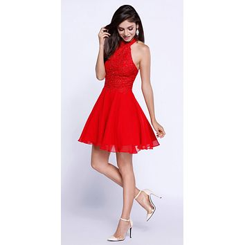 Red Lace Applique Close Neck Halter Homecoming Dress Short