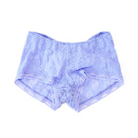 Only Hearts Blu Violet Lace Boy Shorts available at les pommettes los angeles