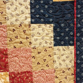 Lap Quilt, wall hanging, diagonal patchwork, 48 x 54, machine quilted, country primitive colors, blue, deep red, beige, pale gold