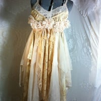 Bohemian Upcycled Slip Dress  Up Cycled Boho Dress Artsy Fairy Dress Wedding Dress  Tattered Corset Back Dress  Upcycled Pixie Gypsy