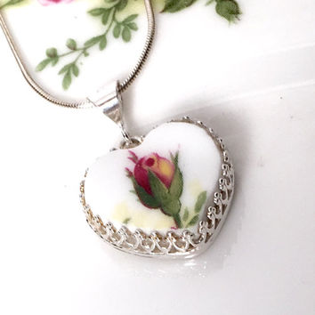 Old Country Roses, Broken China Jewelry, Royal Albert Vintage China Heart Pendant Necklace, Victorian, Birthday Gift for Her