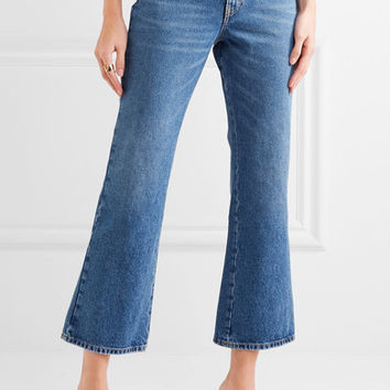 Attico - Rosa cropped high-rise flared jeans