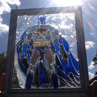 Stained Glass Batman Window Art Sun Catcher Comic Con, Cosplay, Unique Gift idea, Super Hero, Clark Kent