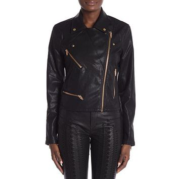 BLANKNYC Black Faux Leather Moto Jacket Size S
