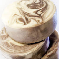 REAL Coffee & Cream Soap swirled with delicious french vanilla scent. Easy to hold round bar with natural high quality oils! Caffeinated!