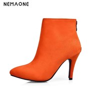 NEMAONE Orange Black brown Sexy Women Boots Solid Flock Suede Zip High heels Boots Pointed toe Ankle Boots Martin Boot