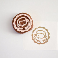 Hand Carved Rubber Stamp / Thank You