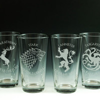 Game of Throne - House - Etched Pint Glasses - Choice of 4