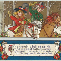World Full of Spirit - Vintage 1910s Embossed and Gilded Christmas Ponies Postcard