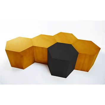 Hexagon Metallic Wood Modern Geometric Table- Copper