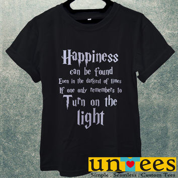 Low Price Men's Adult T-Shirt - Harry Potter Quotes Happiness Can be Found Even in The Darkest of Times If One Remembers design