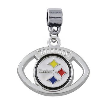 Classic football sport team Jewelry Accessories Enamel Pittsburgh Steelers logo big hole loose beads pendant