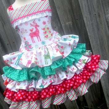 Custom Boutique 5 Ruffle Christmas Dress RTS Nordic Reindeer Fabric Girl 2 3 4 5 6 7 8 Made to order