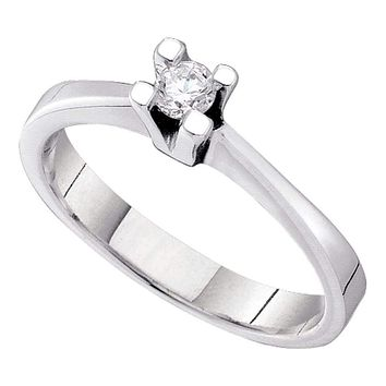 14kt White Gold Women's Round Diamond Solitaire Bridal Wedding Engagement Ring 1/10 Cttw - FREE Shipping (USA/CAN)