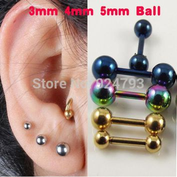 LMFUS4 2 piece  Stainless Steel Tragus Earring Ball Barbell Ear Piercing  Black Silver Gold Cartilage Ring Jewelry For Men Women