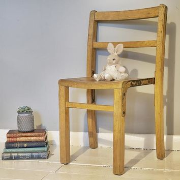 Solid Oak Old School Wooden Primary School Chair. Vintage 1930's classic piece, designed for infants or early years.