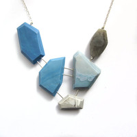 Blue and white statement necklace, labradorite necklace, sterling silver jewelry, contemporary necklace, sky blue necklace, lightweight