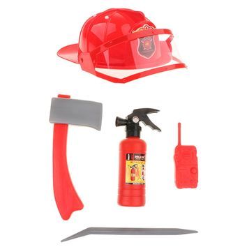 Children Fire Chief Role Play Costume Halloween Cosplay Helmet Set 5 Pieces for Dress Up Accessories