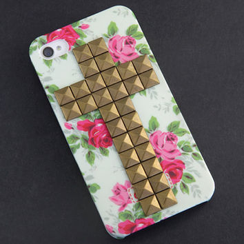 Iphone 4 Case, studded iphone 4 case, iphone 4s case, antique brass studded Iphone case, Flower Rose Iphone 4 Hard Case, vintage style