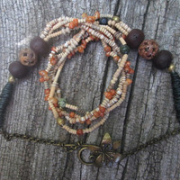 Multi Strand , African Bead , Whole Shell , Heishi Shell, Brass ,  Jasper Stone , Bodhi Seed , Carved Stone ,  Boho Necklace, Autumn Color