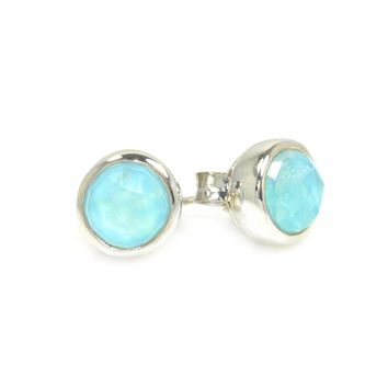 Stud Earrings in Sterling Silver and Turquoise/Moonstone